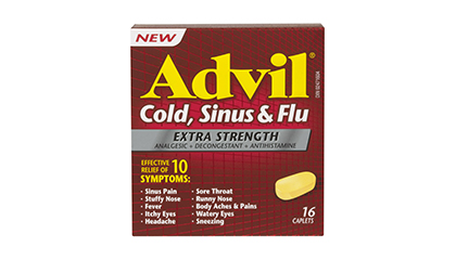 Advil Cold, Sinus & Flu Extra Strength provides effective relief of your worst cold, sinus & flu symptoms. From the makers of the #1 selling pain reliever, ...